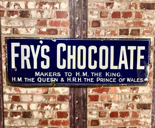 Vintage Fry's Chocolate Original Large Enamel Shop Display Advertising Sign Coco